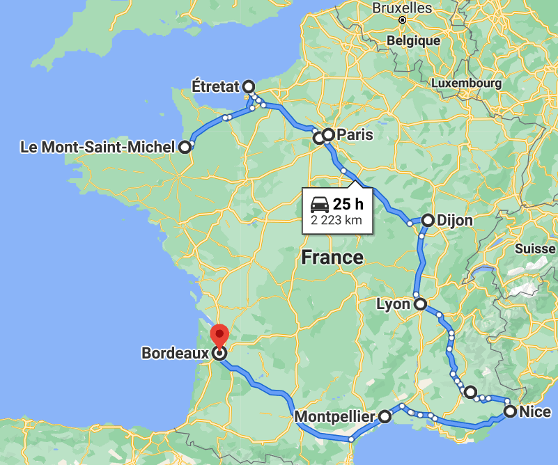 Road trip through France, map